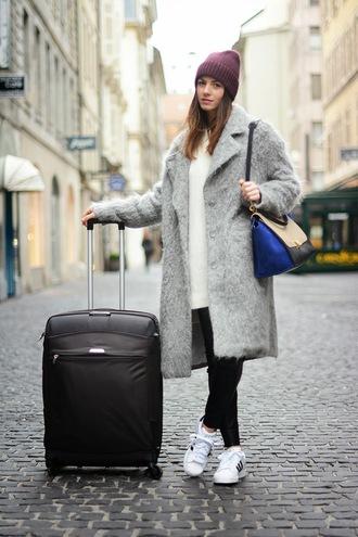 fashion vibe pants shoes sweater hat bag pea coat
