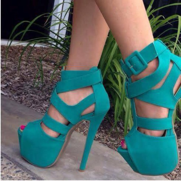 Heels High Heels Platform Shoes Turquoise Shoes High