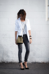 alterations needed,blogger,jacket,t-shirt,jeans,shoes,blazer,white jacket,black jeans,ripped jeans,mini bag,shoulder bag,grey top,black heels,grey t-shirt,white blazer,bucket hat,pumps,pointed toe pumps,black pumps,high heel pumps,embellished bag