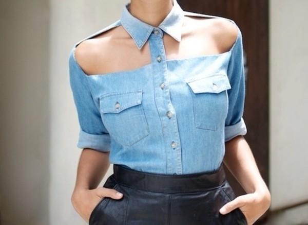 blouse denim jeans light blue sexy jeans cut offs cut-out cut-out shirt blue jeans shirt top tank top