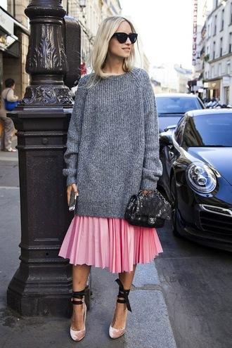 le fashion image blogger sunglasses sweater bag skirt