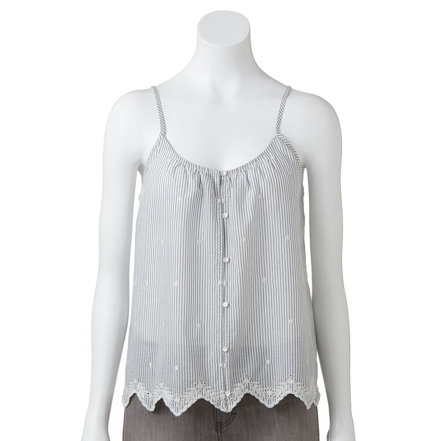 Lc lauren conrad embroidered chambray tank