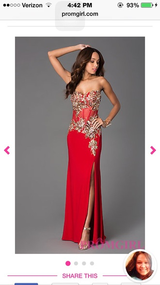 dress red dress diamonds prom dress