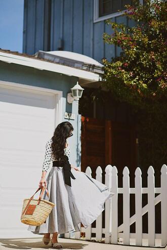 hallie daily blogger top skirt bag belt shoes straw bag basket bag spring outfits midi skirt