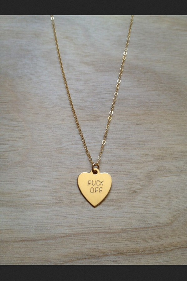 jewels fuck off necklace gold heart
