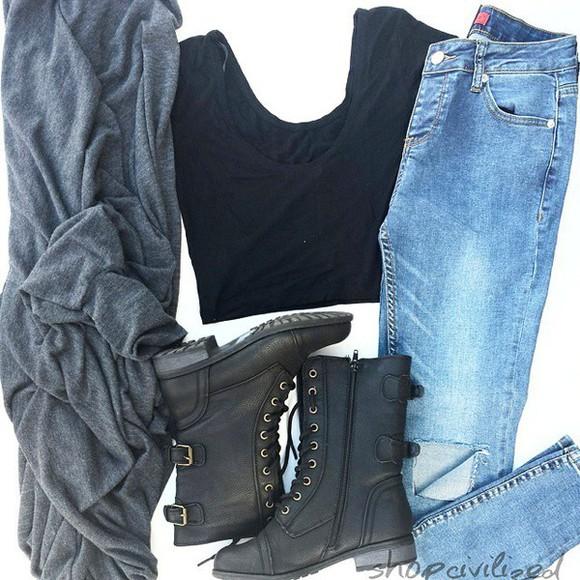 oversized sweater oversized cardigan oversized cardigan gray grey top gray cardigan black grey cardigan combat boots boots black combat boots black boots black crop top crop tops