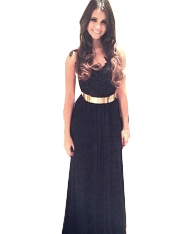 maggie in black halter evening dress with gold belt