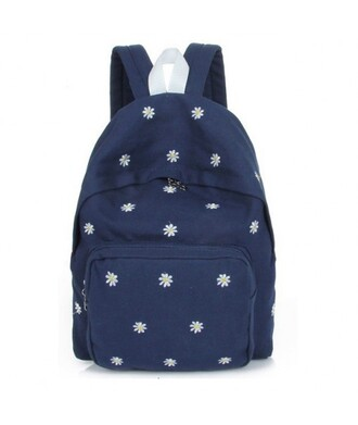 bag fashion style flowers cool backpack navy back to school it girl shop