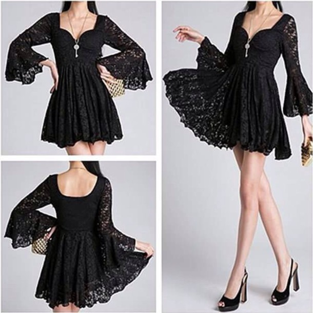 dress sweetheart neckline black black dress lace long sleeves sweetheart dress black lace dress