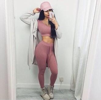 top two-piece fashion style trendy sportswear sporty pink cute musheng