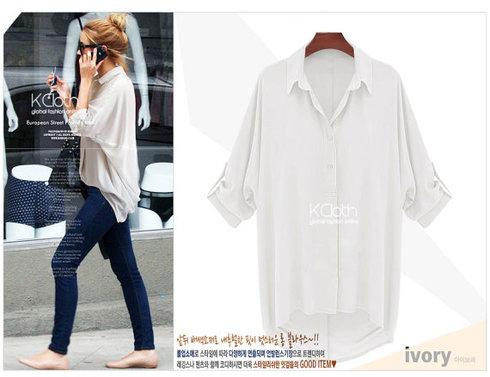 Kcloth women folded collar chiffon shirt t1333