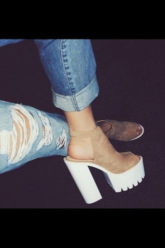 shoes plaform brown platform brown suede platform booties ankle strap heels high heels white soled