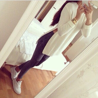 sweater top white top fabric leggings