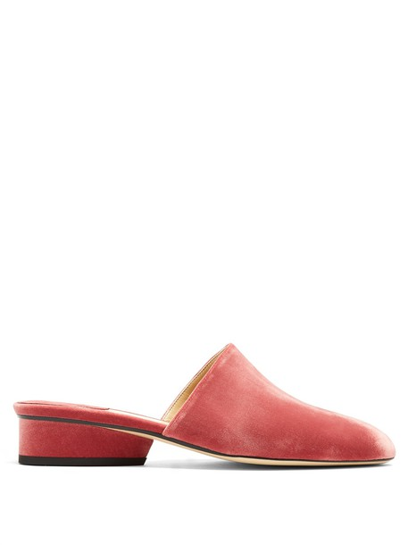 Paul Andrew backless velvet pink shoes