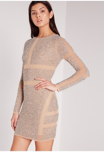 Missguided - Premium Embellished Mesh Cut Out Mini Dress Silver