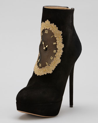 Charlotte Olympia On Time Clock Face Suede Ankle Boot - Neiman Marcus