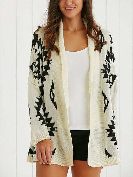 cardigan geometric tribal pattern tribal cardigan tribal sweater tribal pattern long sleeves long sleeve cardigans