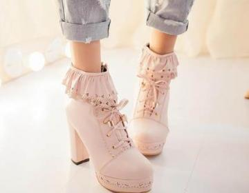 Lovely high heels with lace, stylis..
