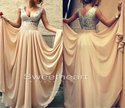 Line v neckline chiffon long prom dresses, evening dresses