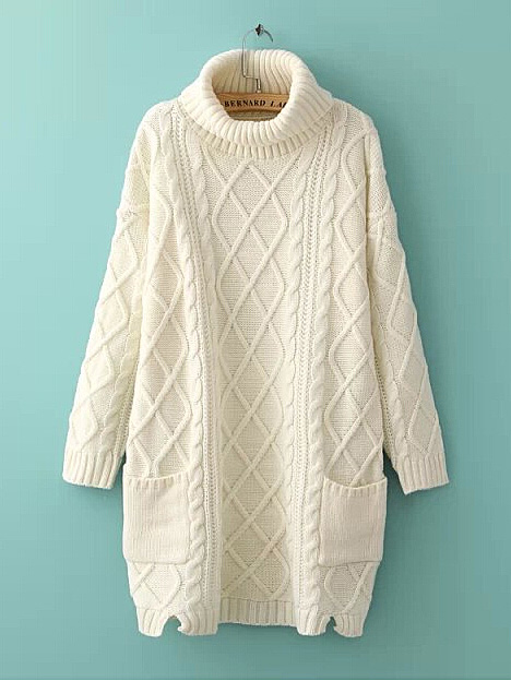 Pure white turtle neck geometric cable long pullover sweater with pockets