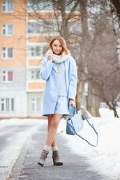 gvozdishe,blogger,light blue,blue coat,blue sweater,blue bag,winter outfits,coat,sweater,dress,bag,shoes,pastel bag