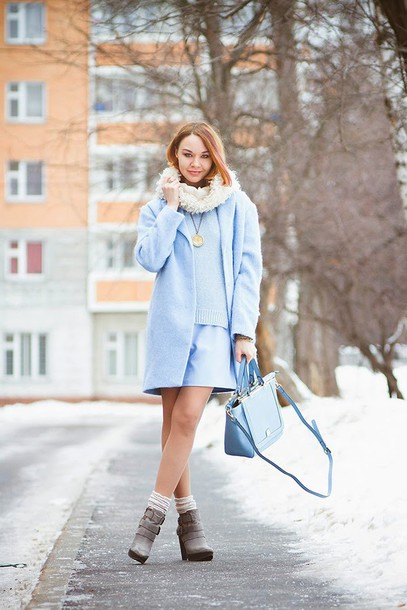 gvozdishe blogger light blue blue coat blue sweater blue bag winter outfits coat sweater dress bag shoes pastel bag