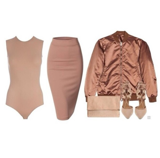 7cc4b3b4a355 nude bomber jacket outfit bodysuit metallic bronze girly wishlist style