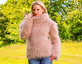 sweater hand knit made mohair turtleneck supertanya fluffy soft beige