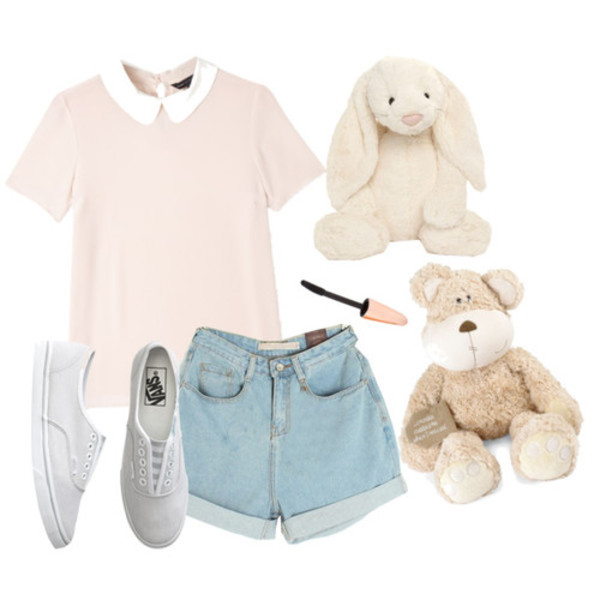 jeans shoes sneakers vans vans wonderful lovely romantic lookbook look blouse stuffed animal