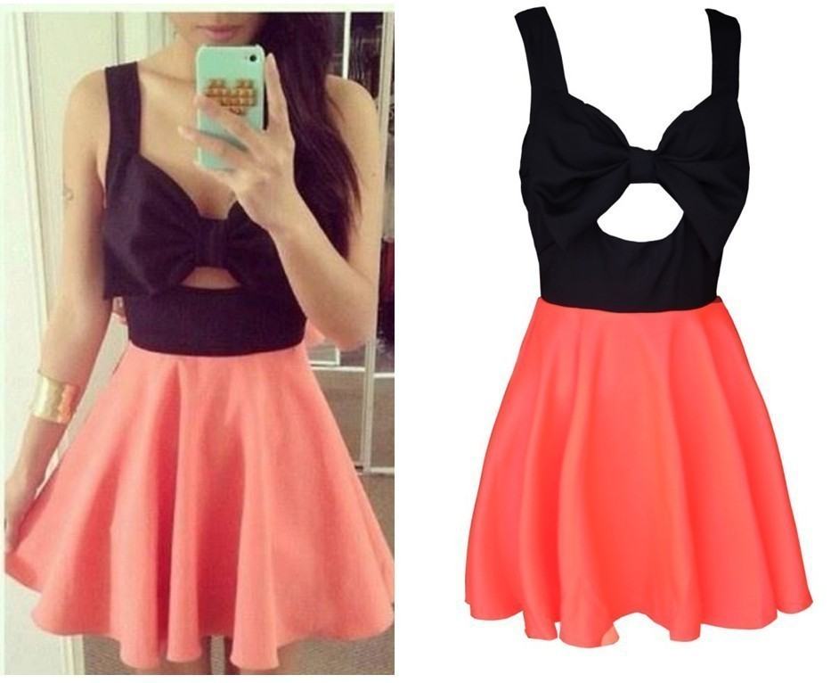 Fashion cute front bow dress