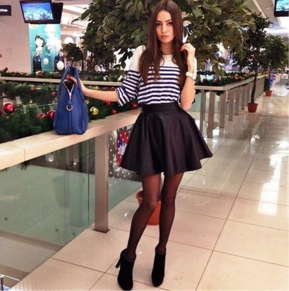 stripes striped shirt skirt pleated skirt back to school