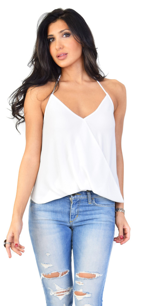Emprada ivory lay over halter top