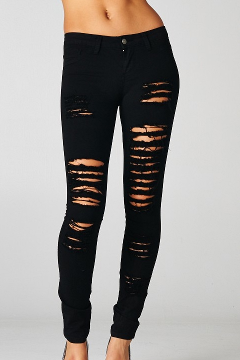 Distressed Black Skinny Jeans- Destroyed Denim Premium High Waist ...
