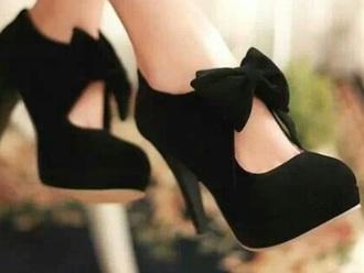 jewels black bow heels cute need them 😍