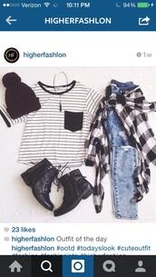 top,black,cool,girl,hipster,hat,jeans,shoes,cardigan,jewels,stripes,pocket t-shirt,pants,shirt,striped shirt,striped top,black and white
