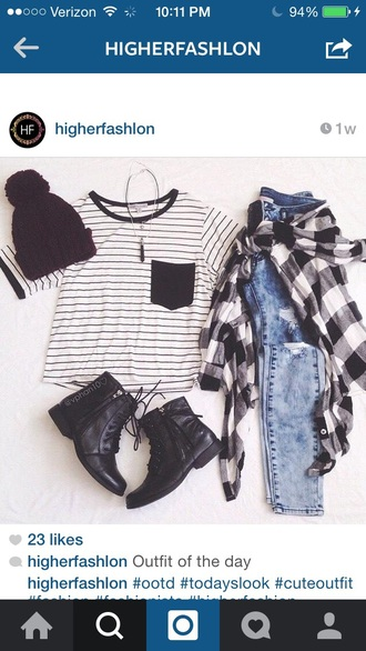 top black cool girl hipster hat jeans shoes cardigan jewels stripes pocket t-shirt pants shirt striped shirt striped top black and white