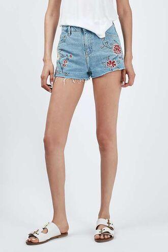 shorts embroidered shorts denim shorts blue shorts embellished denim embroidered slippers white slippers