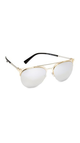 VERSACE sunglasses aviator sunglasses pale gold silver