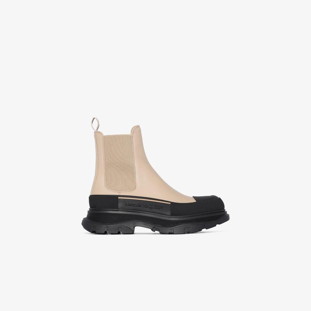 Alexander McQueen - Women's Neutrals Black And Neutral Tread Slick Leather Chelsea Boots