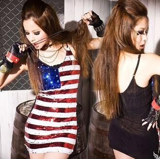 dress union jack squin glitter shinny american flag