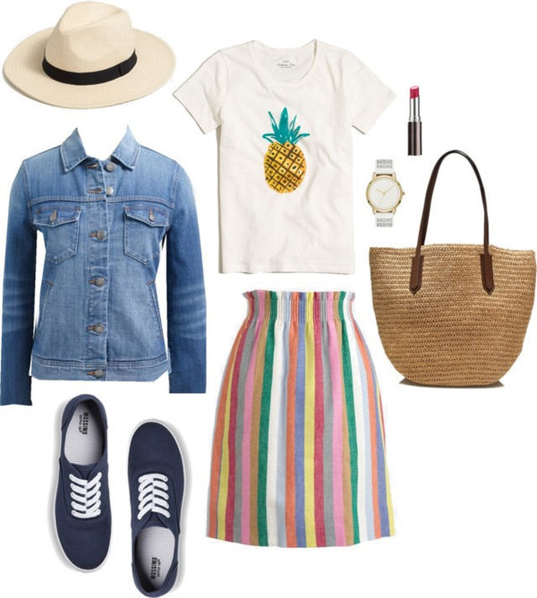 styleontarget blogger skirt hat jacket t-shirt shoes make-up jewels bag vue boutique tan fedora panama suede