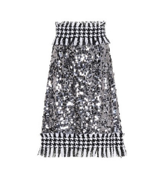 Dolce & Gabbana Sequined houndstooth skirt in silver