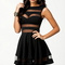 Sleeveless o-neck pleated empire wais striped hollow out cute mini party dress - juicy wardrobe