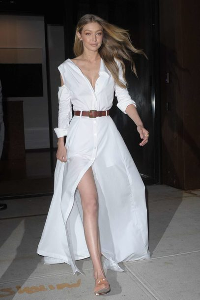 dress white white dress maxi dress gigi hadid belt shoes model off-duty fall dress