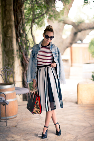 late afternoon blogger skirt top bag shoes sunglasses jacket jewels