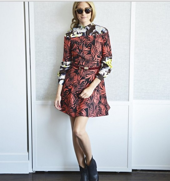 sunglasses olivia palermo dress boots shoes tropical palm tree print