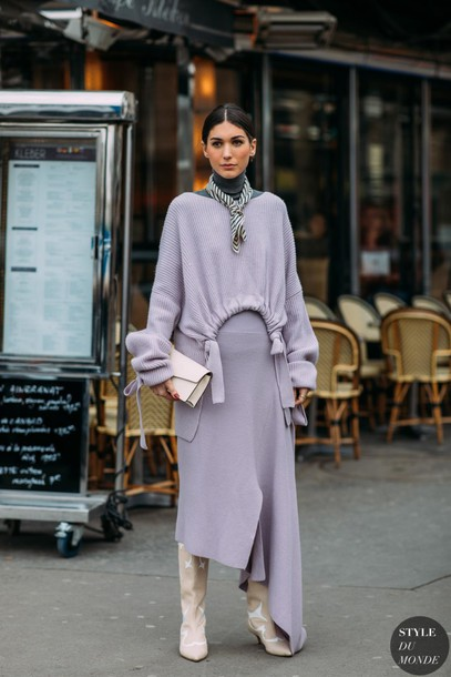 bag beige pointed toe boots pointed toe pastel skirt long skirt sweater beige boots pointed toe boots bow sweater grey turtleneck top scarf neck scarf white bag asymmetrical skirt