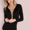 Black double lace up deep v neck long sleeve bodysuit -shein(sheinside)