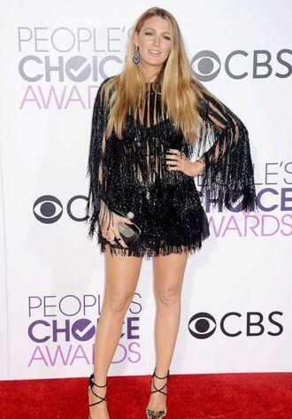 dress black dress blake lively fringes sandals people's choice awards