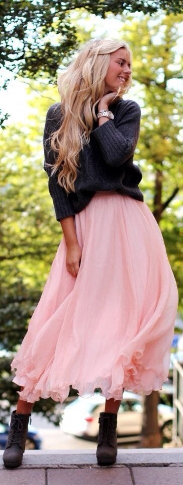 sweater skirt shoes maxi skirt long skirt pink pink skirt grey sweater watch frilly ruffle boots blonde hair romantic outfit